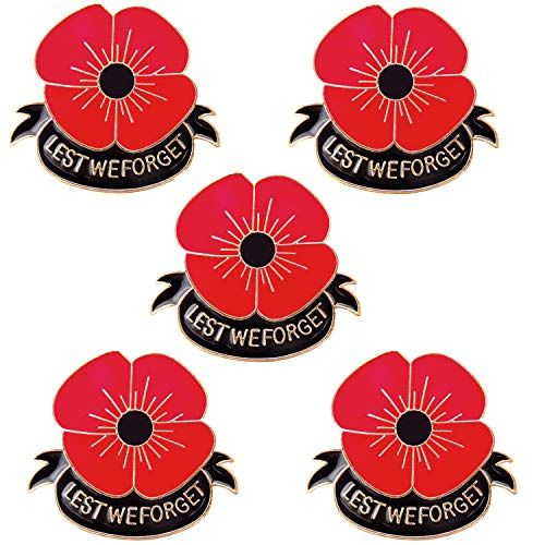JLJ Poppy Brooch Pins Lest We Forget Veterans Day Memorial Day Remembrance Day Color Red