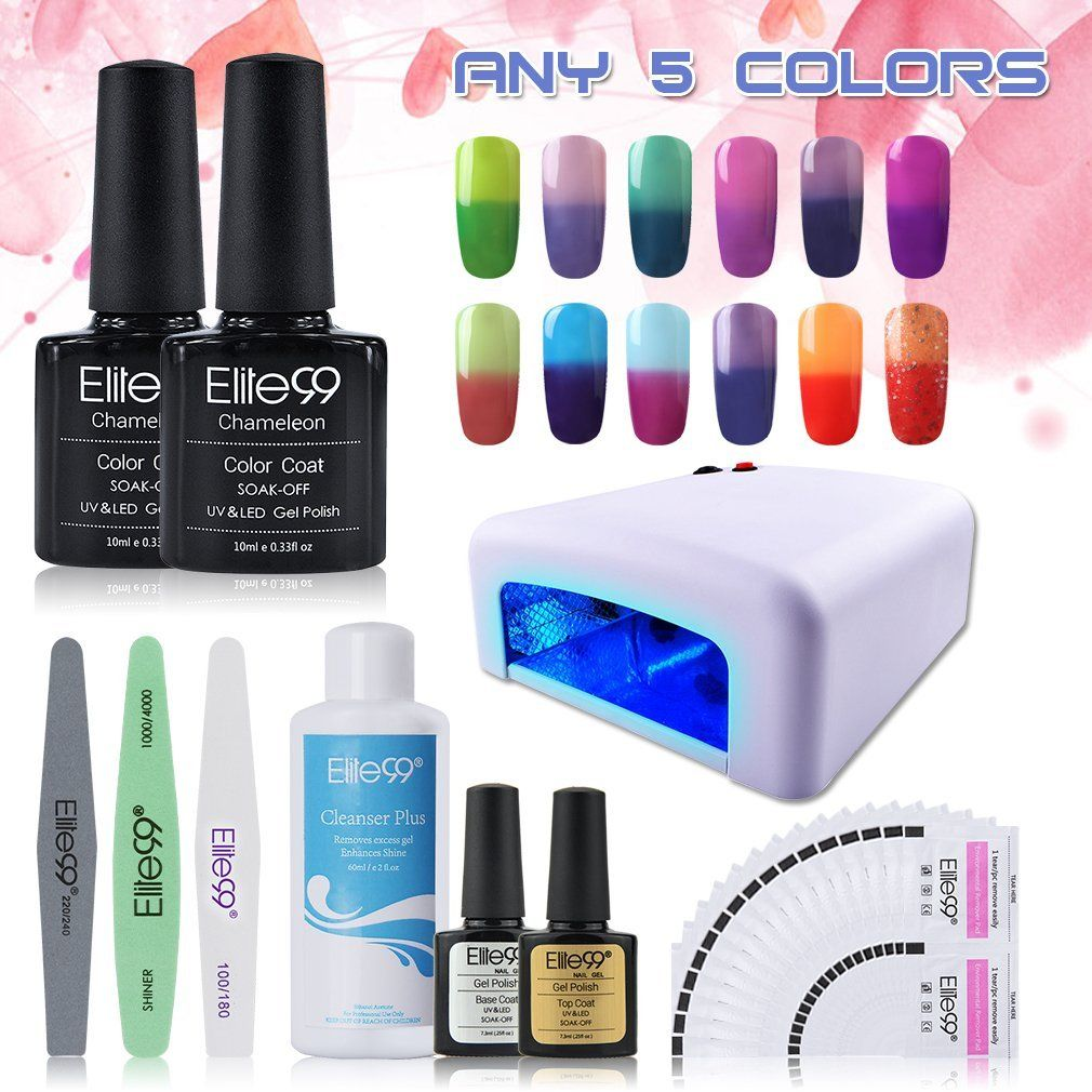 Elite99 Pick Any 5 Colors Soak Off Gel Nail Polish UV LED Color Nail ...