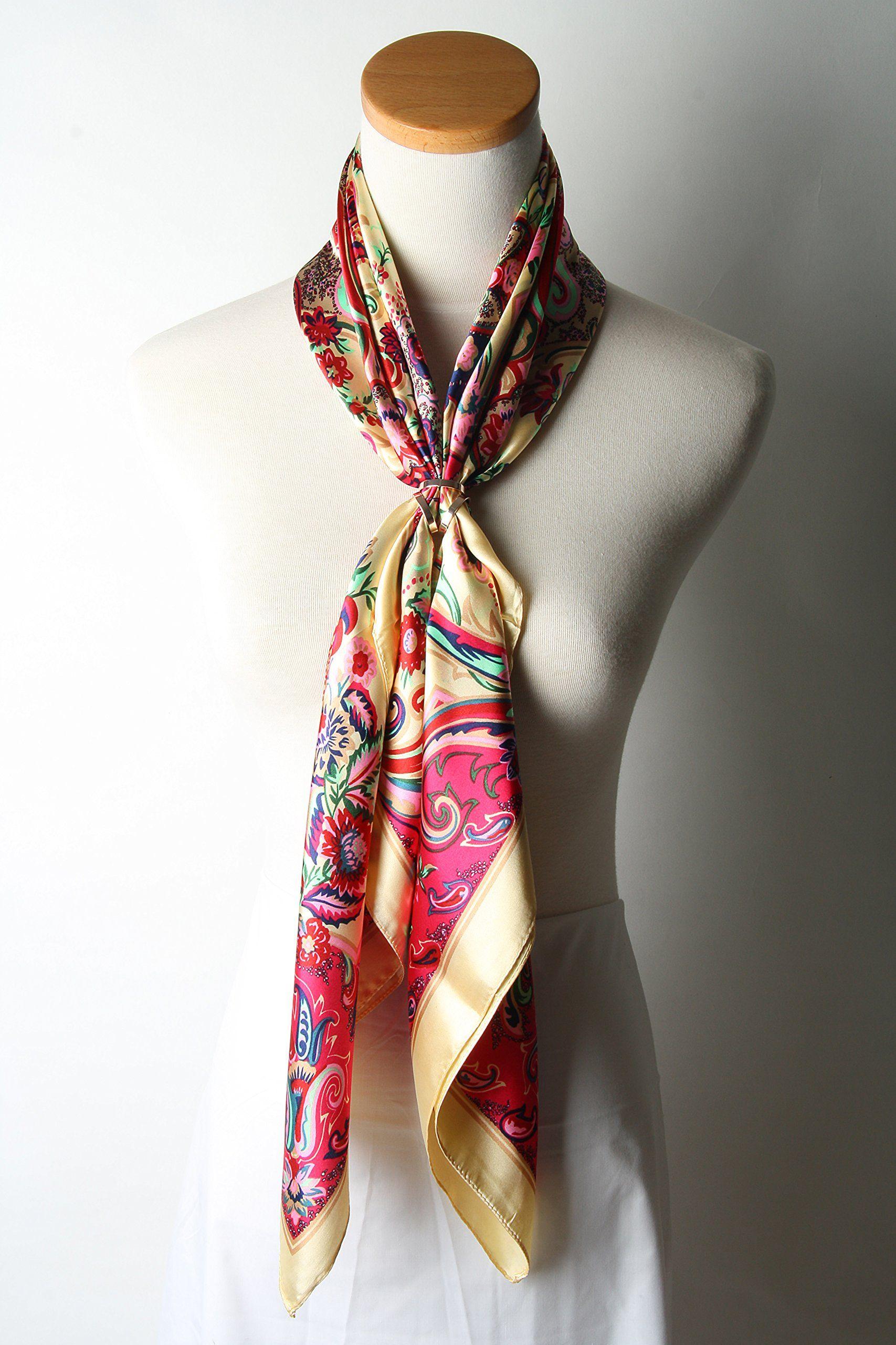 "Corciova® 35"" Silk Like Women's Hair Scarves Flowers Deep Pink Dark Cyan at Amazon Women's Clothing store:"