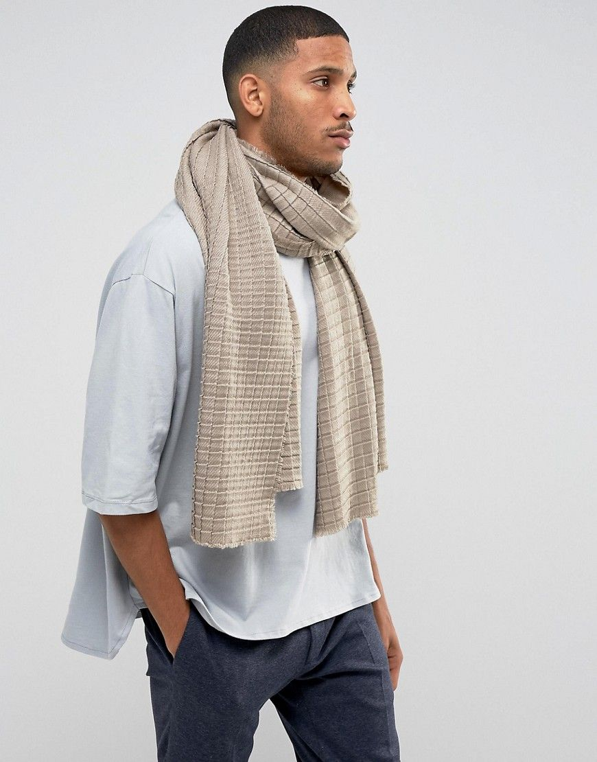 37e55f967 ASOS Knitted Blanket Scarf In Taupe - Beige Hot Black Guys, Waffle Knit,  Blanket