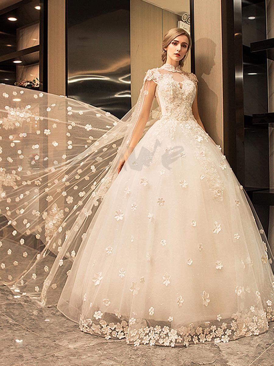 f04aad6387715 ハイネックショートスリーブ アップリケ シースルー ロングトレーン プリンセスライン ウェディングドレス 花嫁ドレス