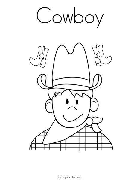 Cowboy Coloring Page Twisty Noodle