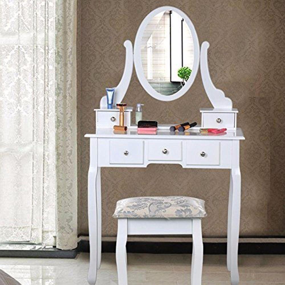 Homdox tocador con espejo de 5 cajones y oval espejo de - Habitacion con tocador ...