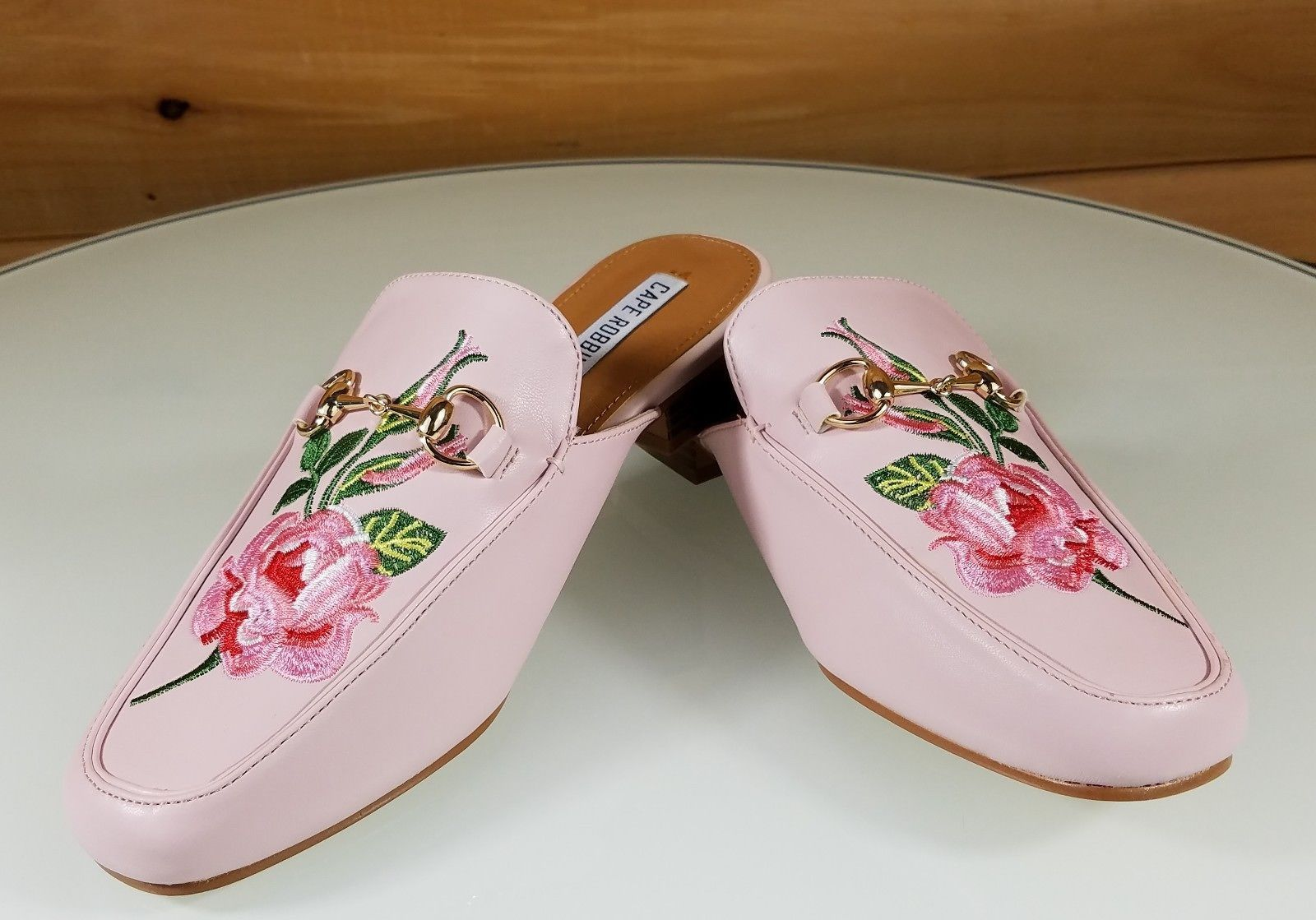 CR Pink Almond Toe Flats Mules Clog Embroidered Rose Design Slippers | Totally Wicked Footwear