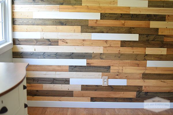 Wood Accent Wall With White