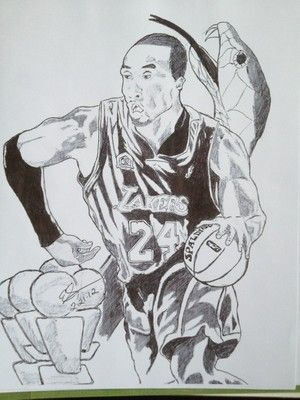 Illustration Drawing Picture Art Sports Basketball Kobe Bryant