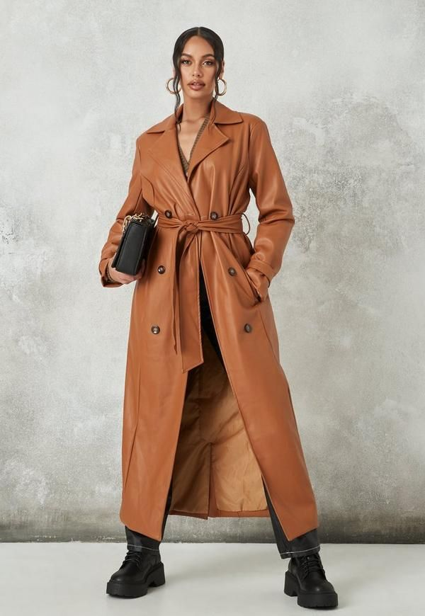 Tan Faux Leather Belted Trench Coat, Womens Faux Leather Trench Coat Uk