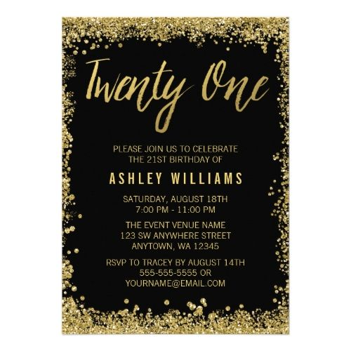 Glitter Birthday Party Invitations Black Gold Faux 21st