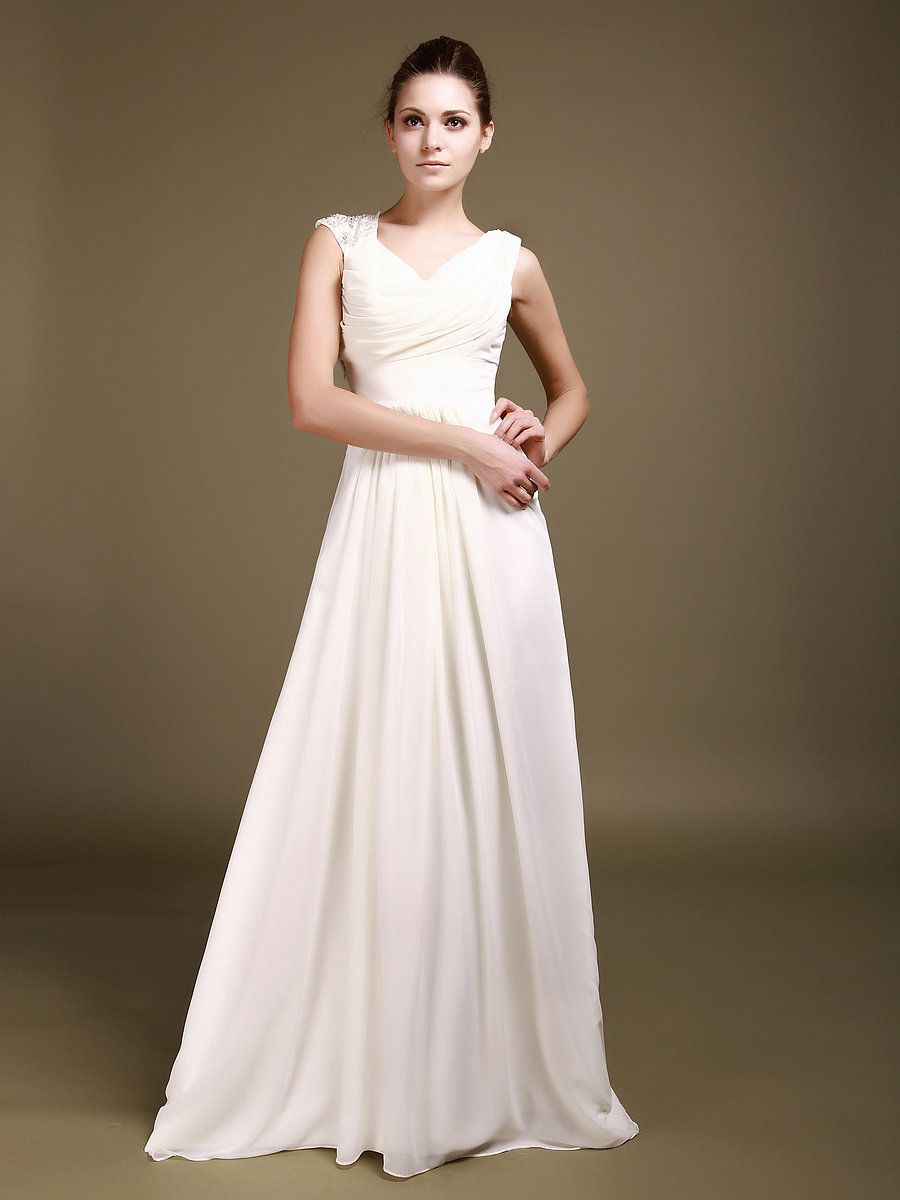 Cowl Neck Chiffon Wedding Gown with Beaded Shoulder Strap ...