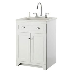 Glacier Bay All In One 24 In X 24 5 In X 34 5 In Plastic Laundry Sink And Wood Cabinet In White