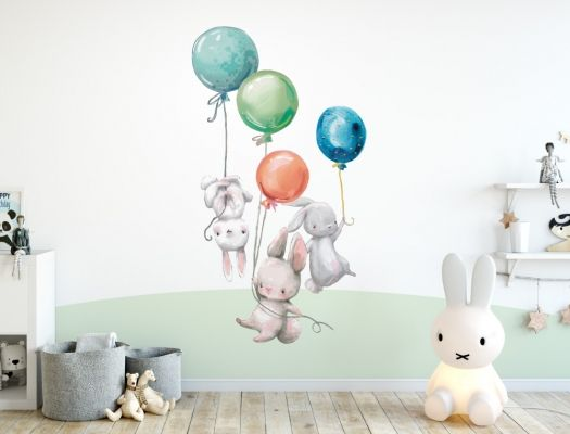 Wandtattoo Kinderzimmer Aquarell Hasen Mit Luftballons I Love