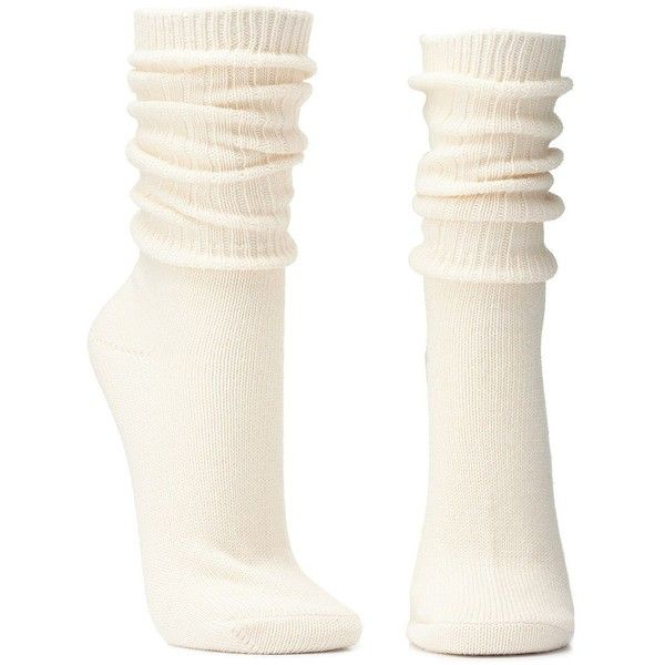afa3d0d3793ef ($6.99) ❤ liked on Polyvore featuring intimates, hosiery, socks,  accessories, ivory, rock socks, charlotte russe, tube socks, thick socks  and crew socks