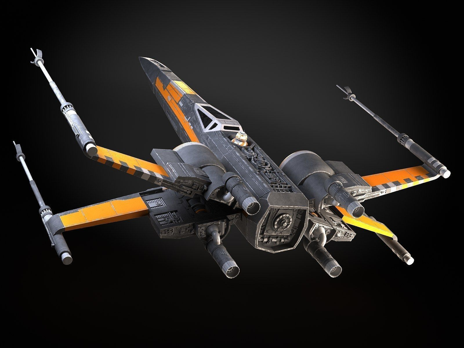 Star Wars X Wing Fighter Black With Interior 3d Model X Wing Fighter Star Wars Fighter