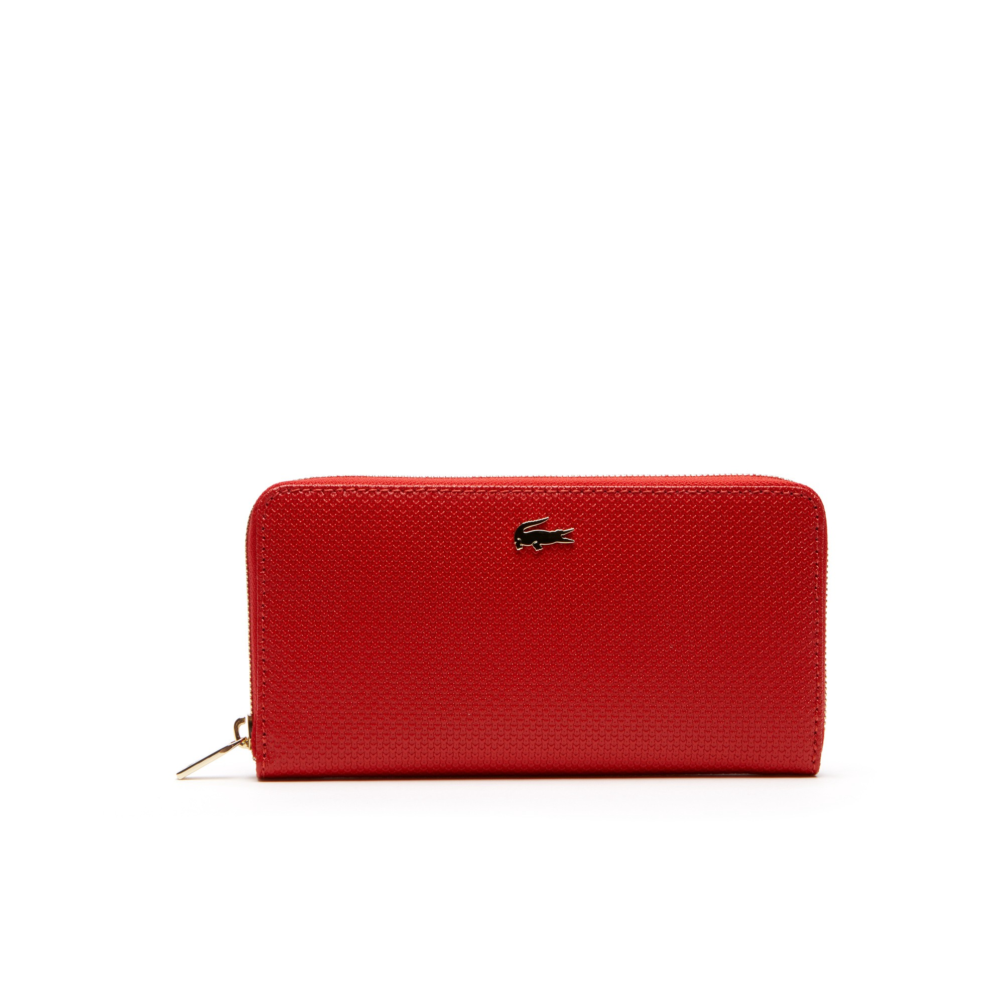 e73b95182a7 LACOSTE Women's Chantaco Piqué Leather Zip Wallet - high risk red. #lacoste  #