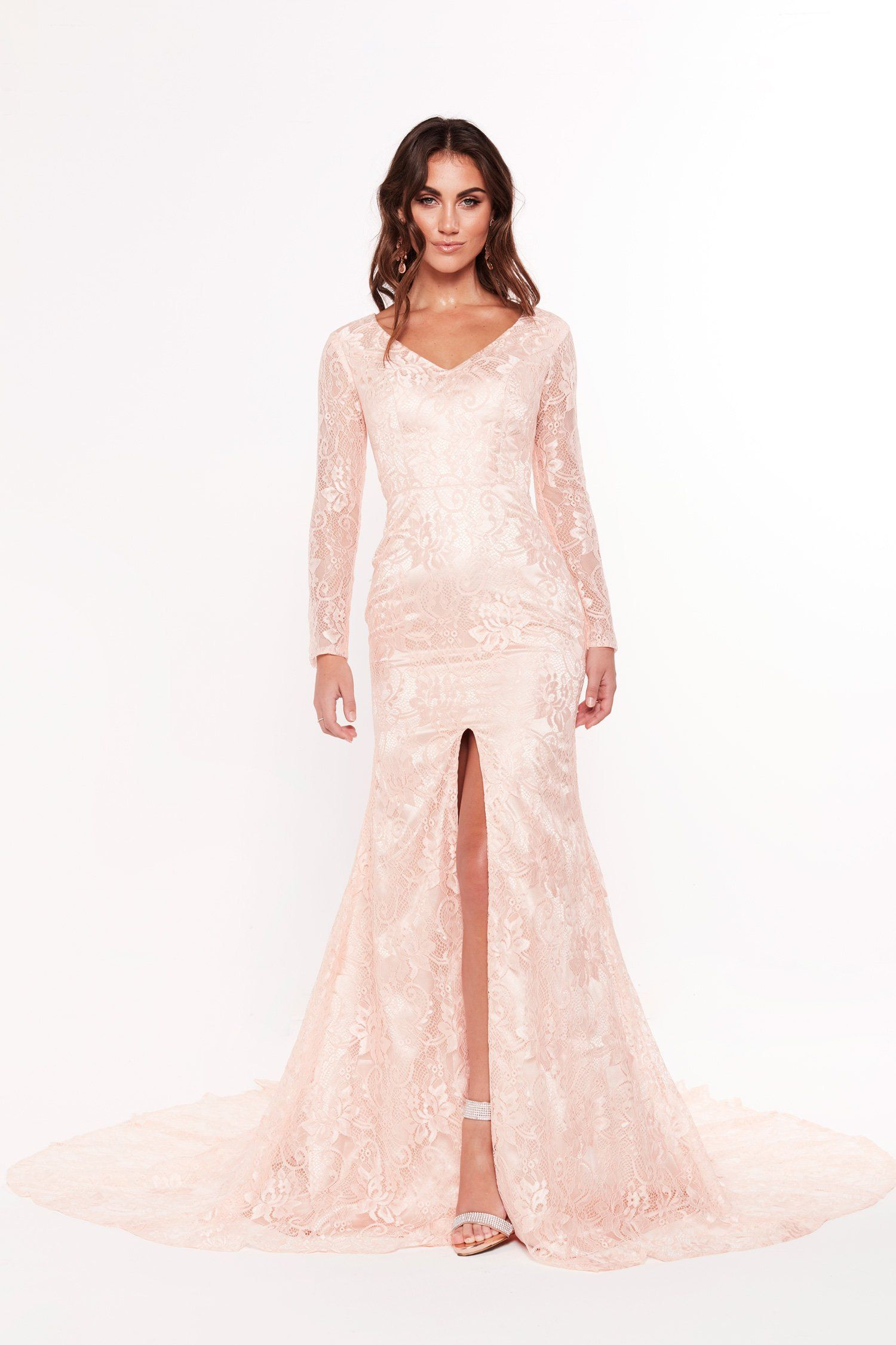 3e0adbdb46 A N Renee Lace Gown - Peach