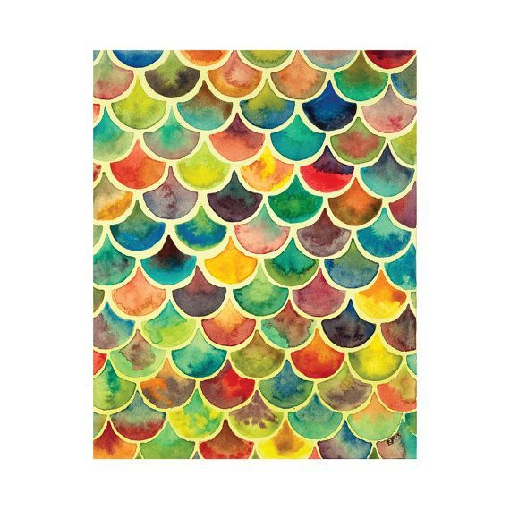 Rainbow Scales 4x6 8x10 Print  Archival Quality Watercolor Giclee  Bright Tiled Geometric A Rainbow Scales 4x6 8x10 Print  Archival Quality Watercolor Giclee  Bright Tile...