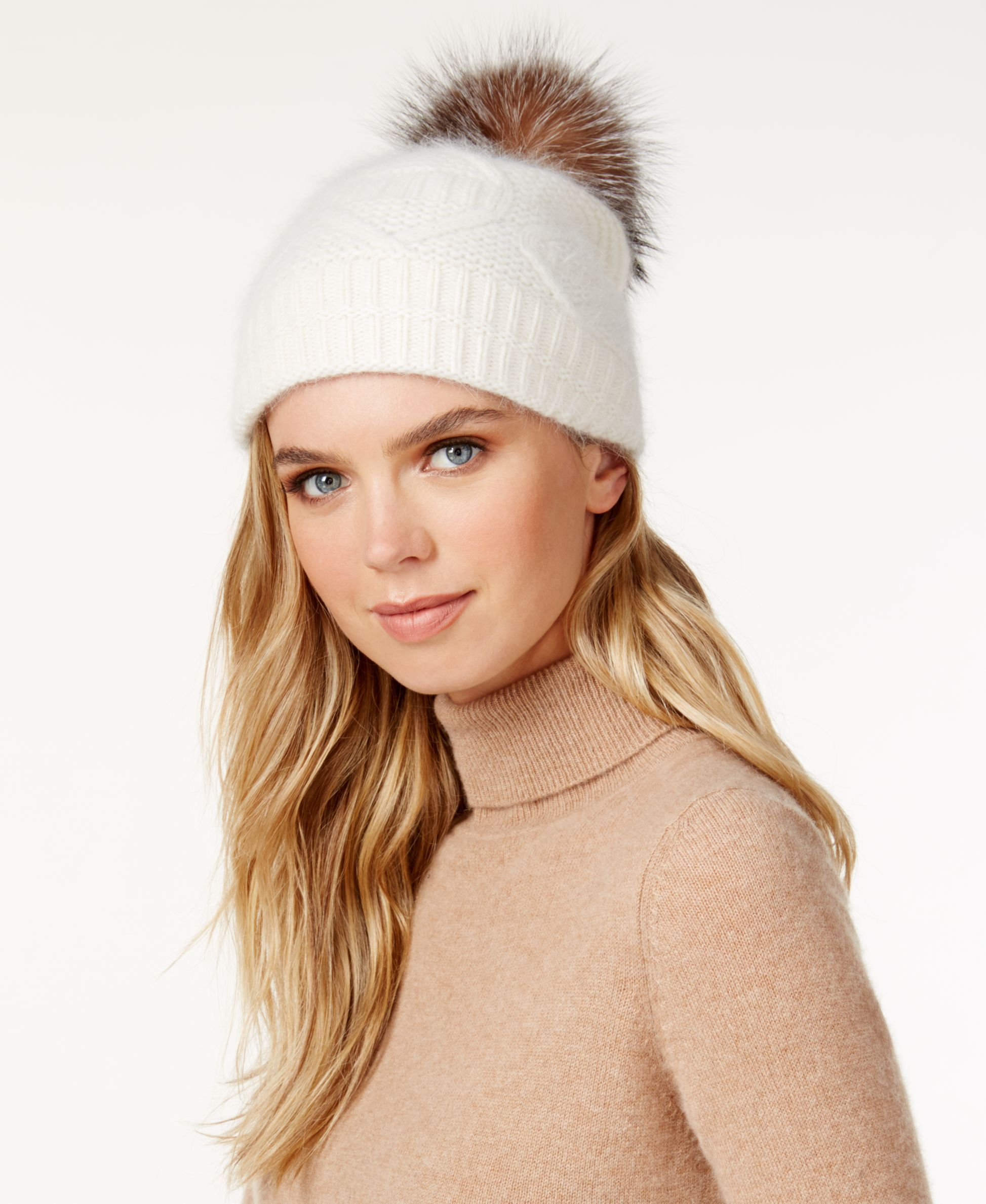 Surell Slouchy Knit Fox Fur Pom Beanie | Products | Pinterest