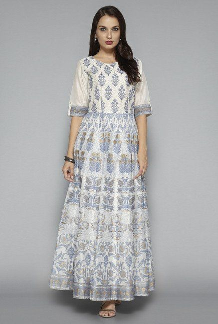 33c1c0cab ... Women Online @ Tata CLiQ. Vark by Westside Off White Floral Print Ethnic  Dress