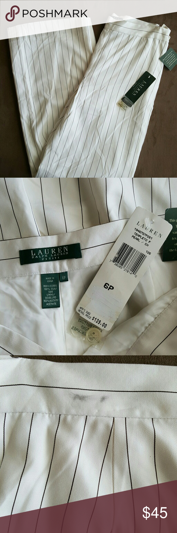 NWT Ralph Lauren Silk Pinstripe Pants size 6P NWT pearl color pants with a brown pinstripe. They have two marks on them as shown in pictures from hangers didn't want to go have it dry-cleaned or try to take it off since they were still new with tags. They are wide legged. Ralph Lauren Pants Trousers