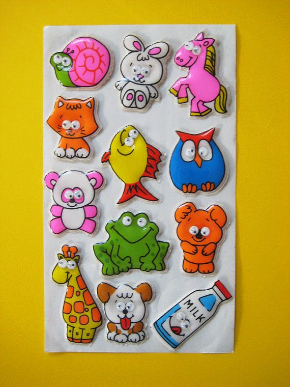 Vintage 1980s RUSS Puffy Googly Eye Stickers via Etsy