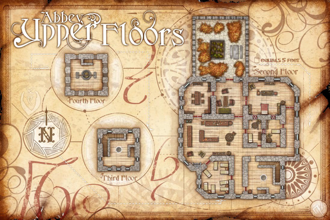 Carrioncrown Abbey Upperfloor Png Fantasy Map Dungeon Maps Map