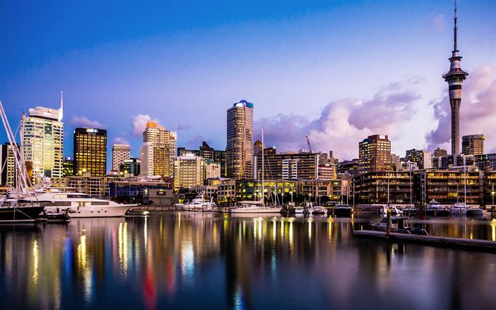 Descargar fondos de pantalla Auckland, la Sky Tower, la torre de la radio, 4к, bahía, yates, Nueva Zelanda