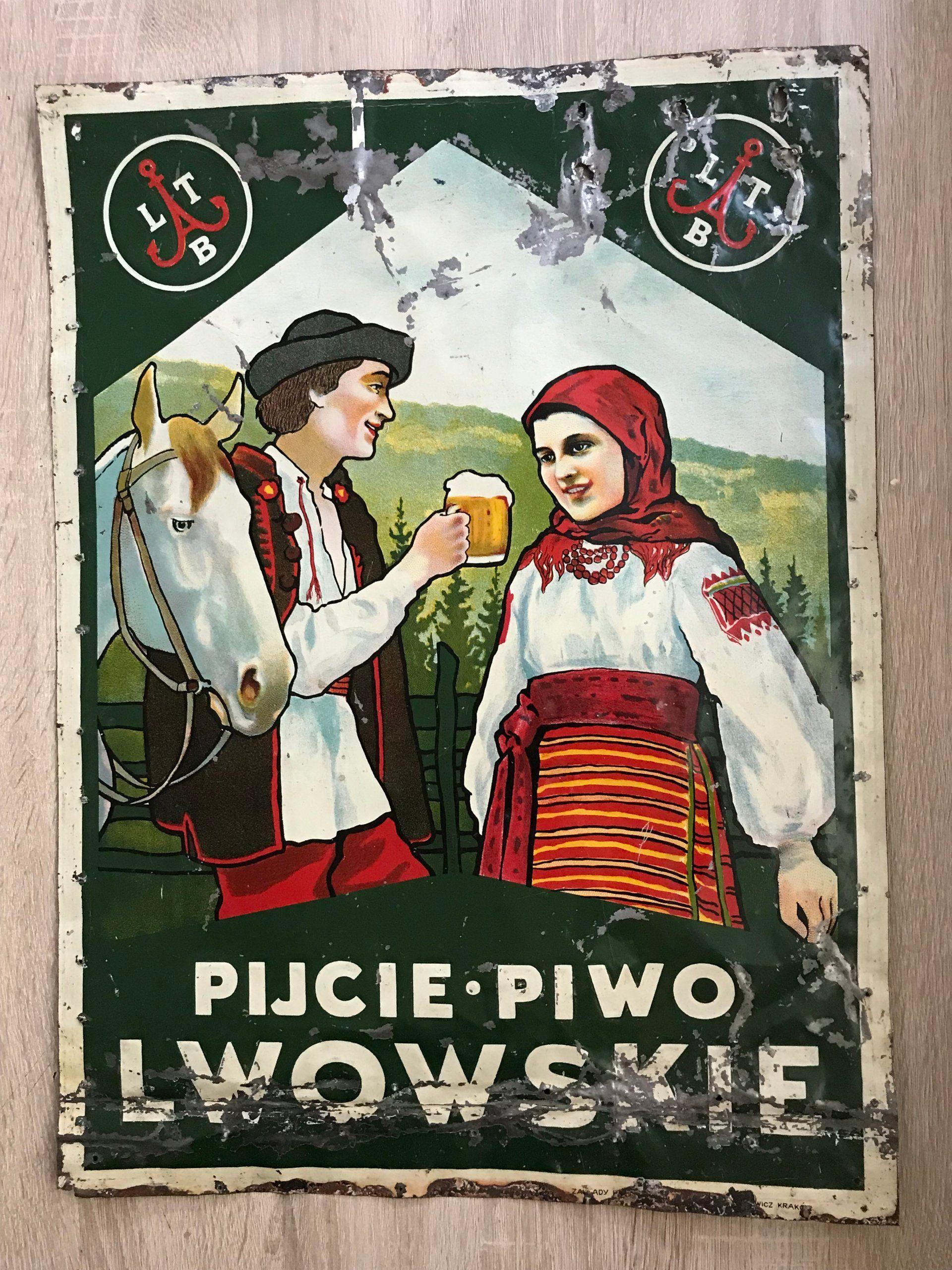 Szyld Piwo Lwowskie Browar Lwow 7345779429 Oficjalne Archiwum Allegro Ukrainian Art Polish Posters Lviv