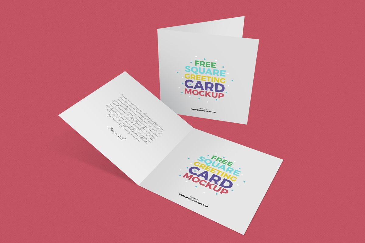 free square greeting cards mockup