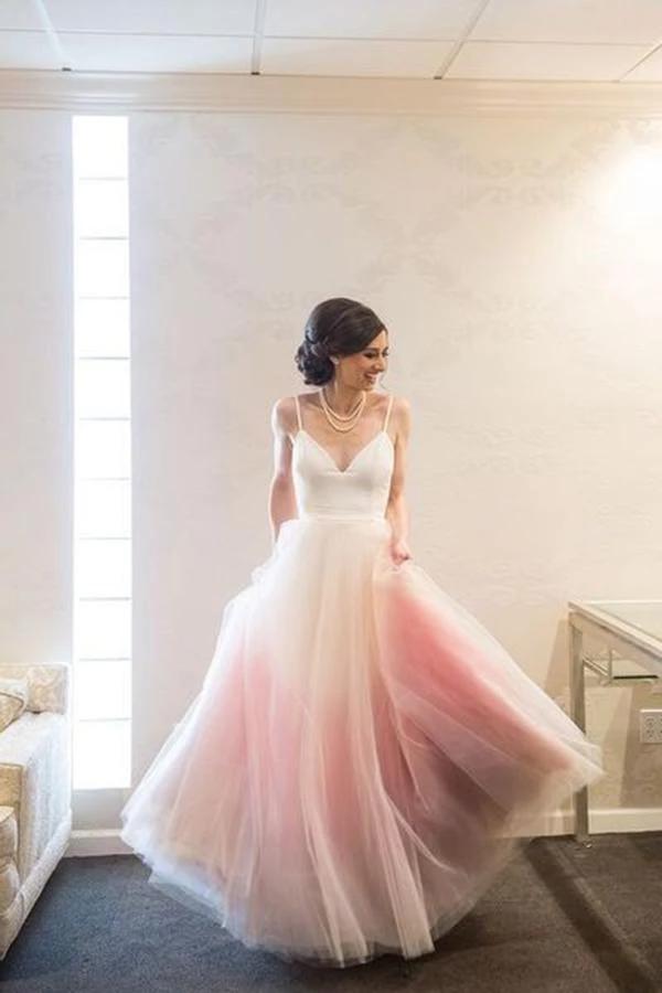 Modest A Line Spaghetti Straps V Neck Ombre Pink Tulle Prom Dresses uk PH798