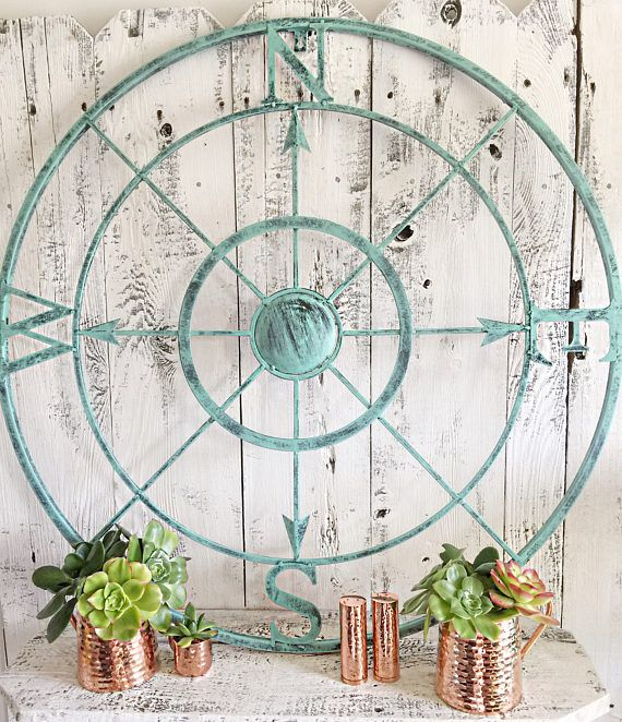 Beautiful Wall Nautical Compass decor. Great nautical piece that works as your center piece. Great look for your beach house or if your giving your home that nautical theme. 32 Inches Diameter Color picture is Patina. Can request any color from our color chart.