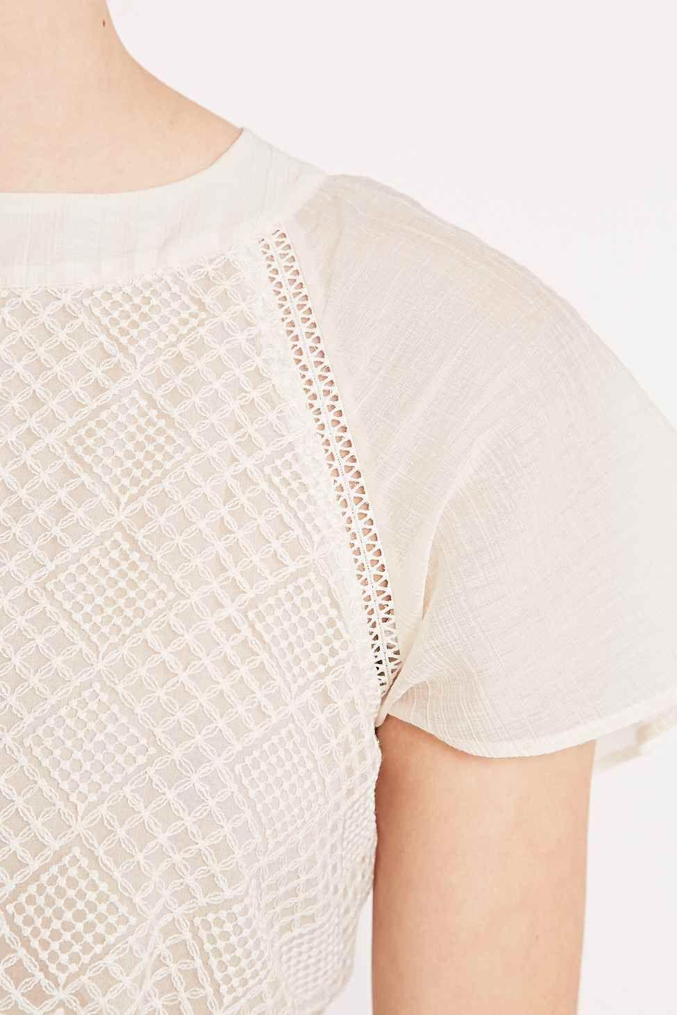 Sessun - Robe Delfina crème brodée à grand décolleté dos