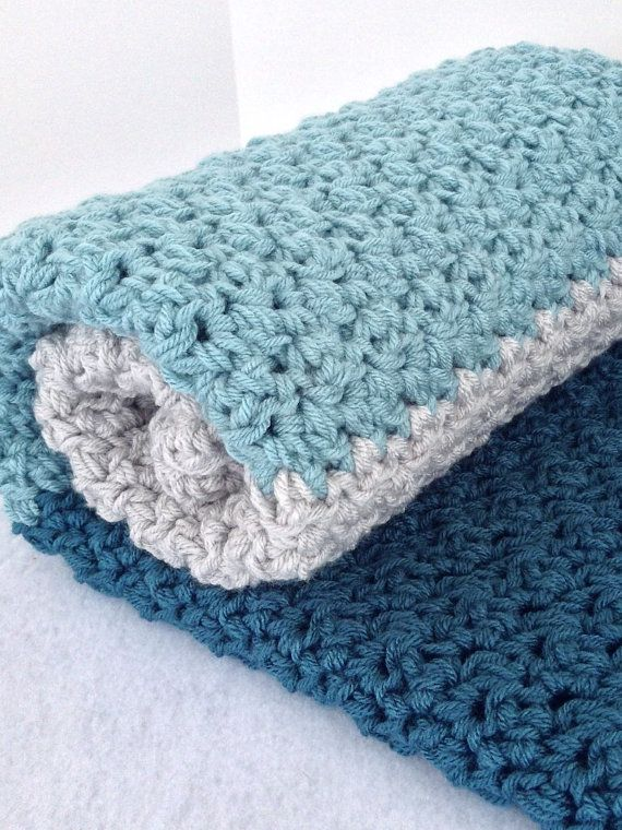 Crochet nautical baby blanket, chunky ocean blue and grey, nautical ...