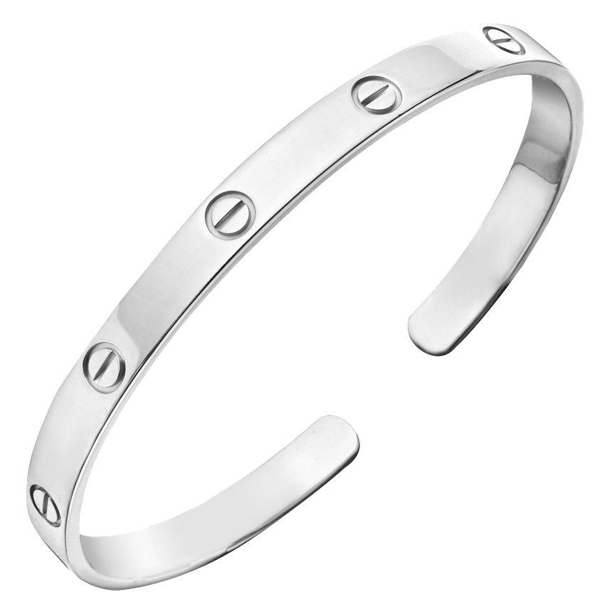 18k White Gold Love Cuff Bracelet