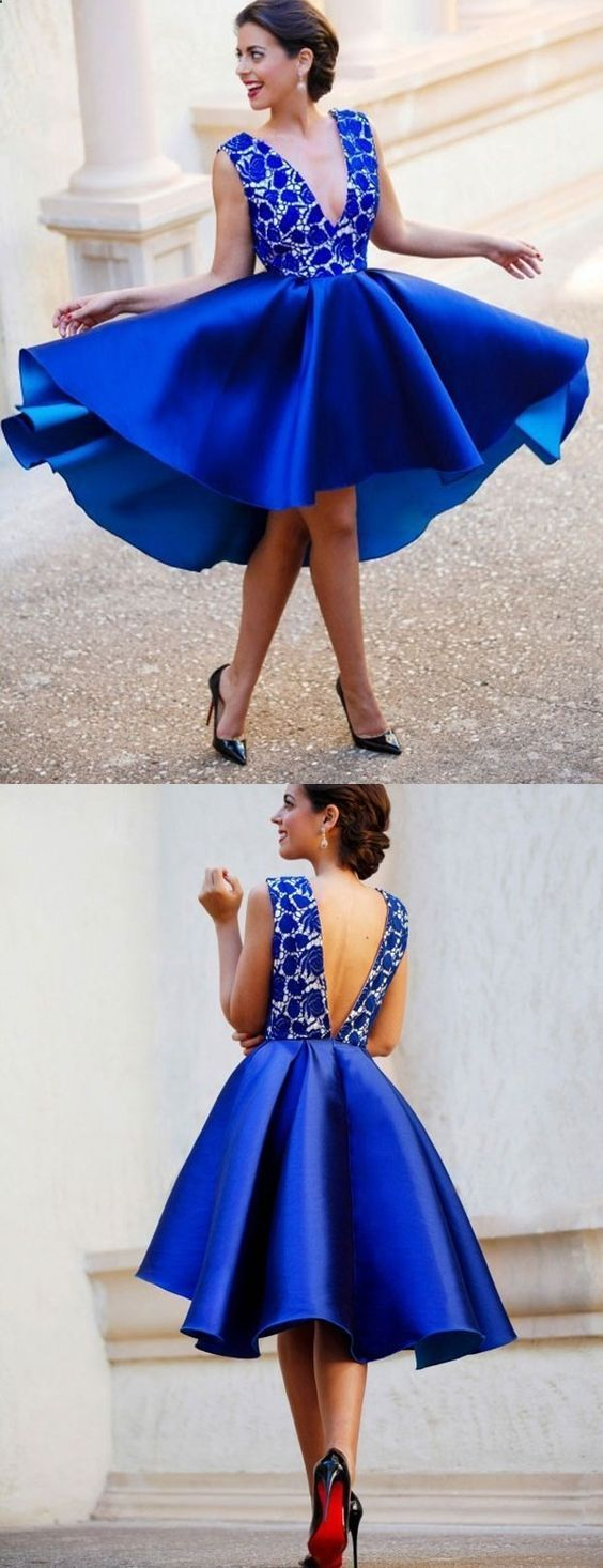 Sexy high low homecoming dress vneck aline royal blue short prom