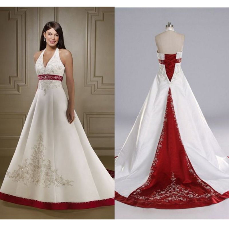 Aliexpress Com Buy Hot Red And White Wedding Dresses 2015 Halter Neckline Satin Embroidery Red White Wedding Dress Red Wedding Dresses Backless Wedding Dress
