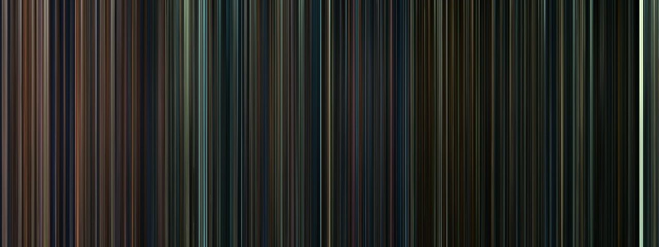 """Every frame of the Harry Potter movies, condensed into a barcode. Notice how the colors get continually darker as the film series progresses. Then at the end you see the white strip which has to be the Kings Cross scene. It's just like Dumbledore said """"Happiness can be found even in the darkest of times, if one only remembers to turn on the light.""""     Hmmm, I like this. -cr"""