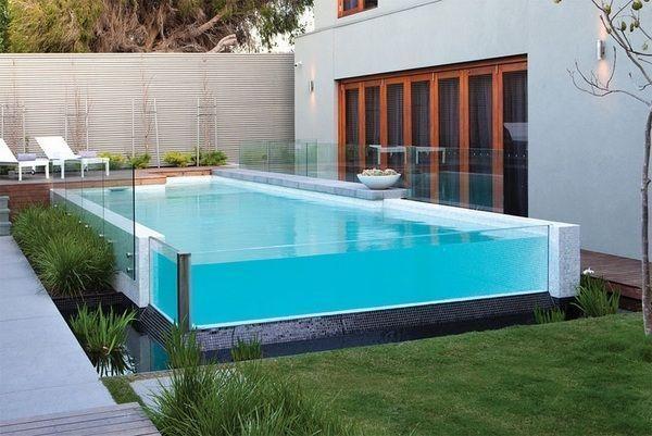 Modern Framless Pool Above Ground Pool Deck Ideas Wooden Deck