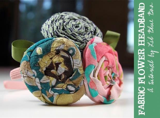 No-Sew Fabric Flower Headband Tutorial via lilblueboo.com