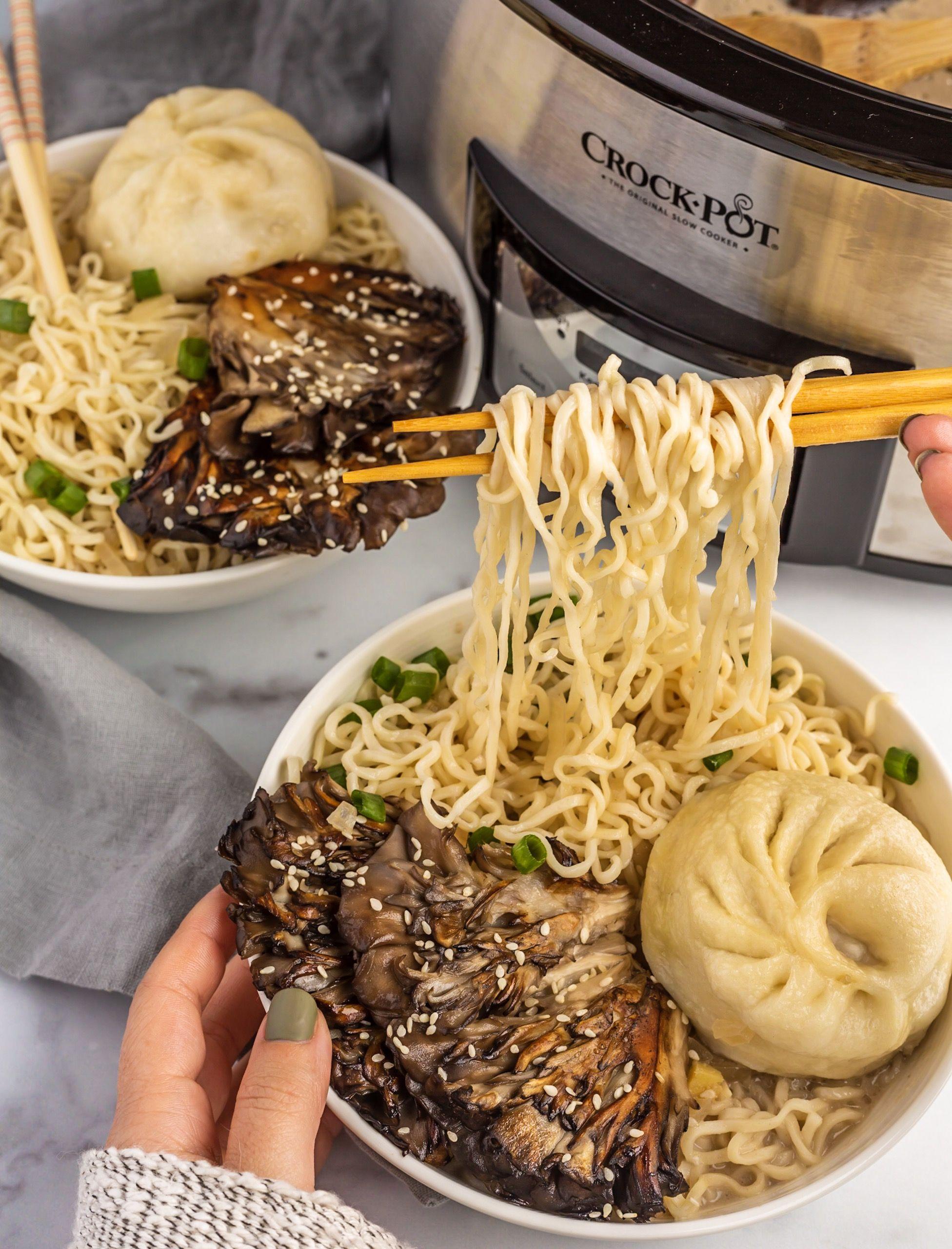 Slow Cooker Mushroom Ramen Vegan Travel Eats Recipe Mushroom Ramen Vegan Asian Recipes Vegan Slow Cooker