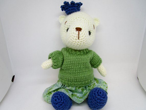 Crochet Teddy Bear, Stuffed Bear, Girl Teddy Bear, Knitted Sweater, Cotton Skirt, Teddy Bear, Princess Bear, OOAK, Crochet Bear #crochetteddybears