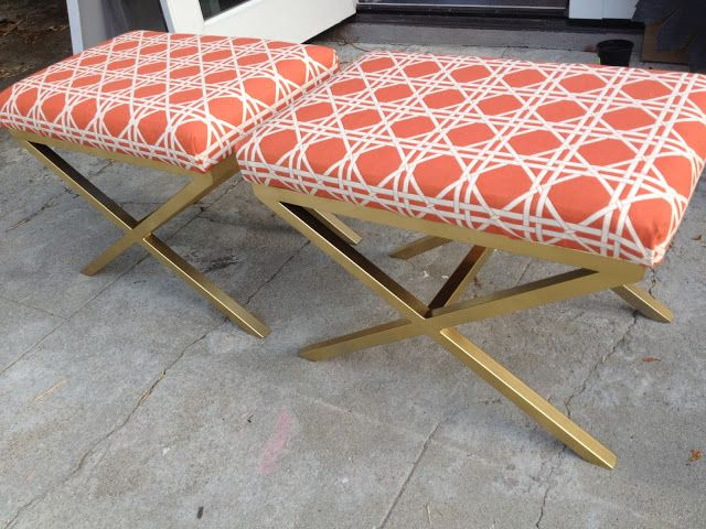 Magnificent Diy X Benches Coral Orange Lattice Fretwork Brass Gold Legs Ibusinesslaw Wood Chair Design Ideas Ibusinesslaworg