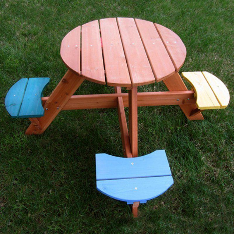 Creative Cedar Designs 4 Seat Round Kids Picnic Table Ma7605 Kids Picnic Table Picnic Table Diy Outdoor Seating