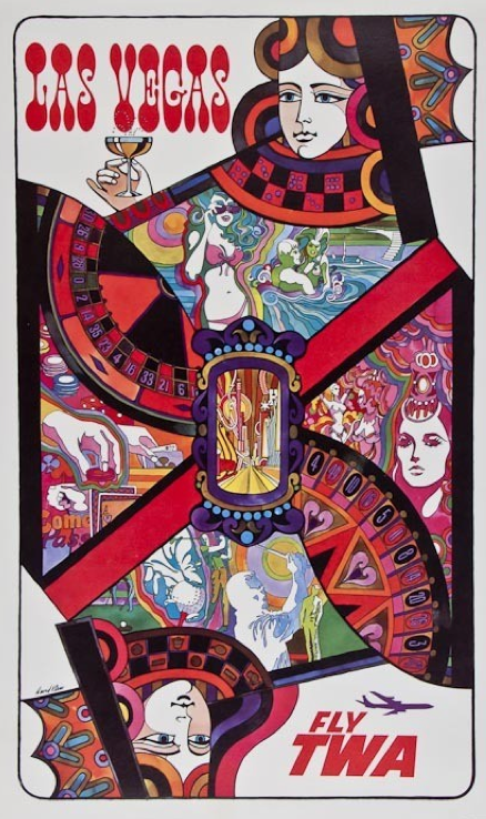 Travel poster by David Klein (1918-2005), ca 1958, Las Vegas fly TWA.
