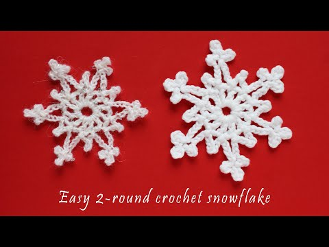 Easy 2 Round Crochet Snowflake Tutorial Youtube Crochet Christmas Snowflakes Crochet Snowflake Garland Christmas Crochet Patterns