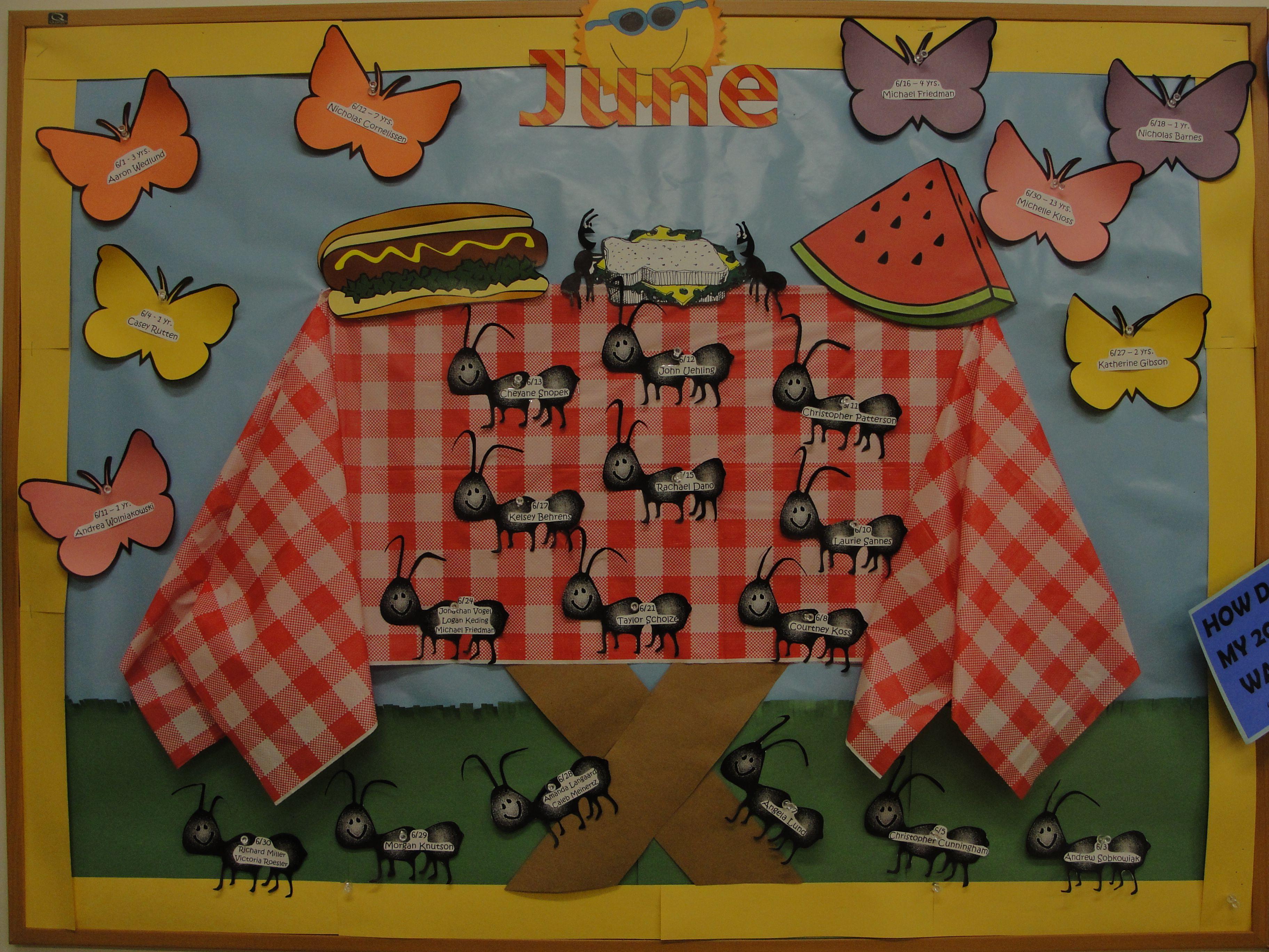 June Classroom Ideas ~ June picnic bulletin board bugs ants butterfly
