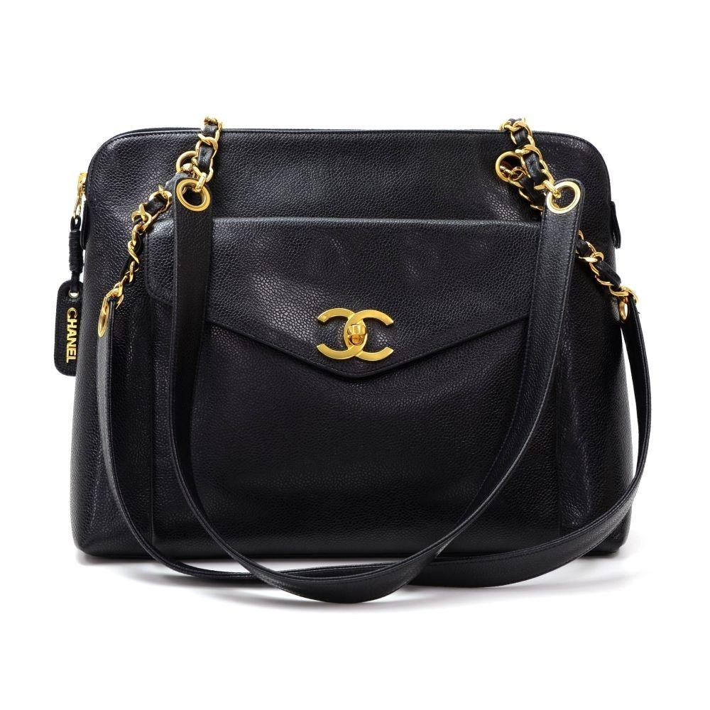 Chanel Vintage Chanel Black Caviar Leather Tote Shoulder Bag Leather Tote Shoulder Bag Chanel Tote