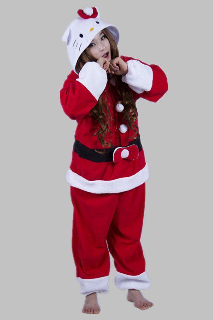 Christmas Fleece Anime Adult Unisex Christmas Cat   Hello Kitty Pajamas  Sleepsuit All in one Cosplay Onesie b40736d10