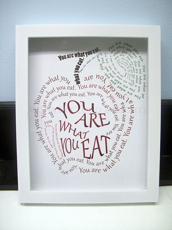 Kitchen Art with Shadowbox Frame - You Are What You Eat - Framed Apple Art - Typographic Apple - Print Design on Etsy, $25.00