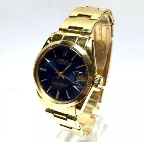 040afd73b8e4 30mm ROLEX OYSTER PERPETUAL DATE 18K Solid Gold Ladies Watch w  Blue Dial  In Box
