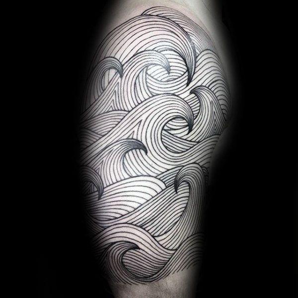90 Remarkable Wave Tattoo Designs: 90 Surf Tattoos For Men - Oceanic Design Ideas